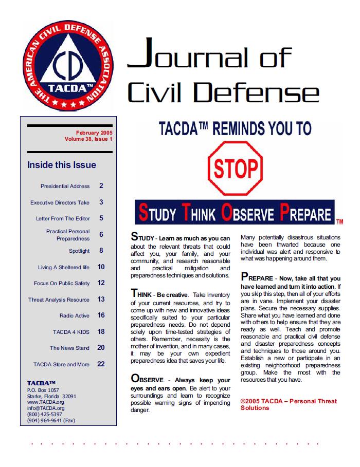 2005 Vol. 38 No. 1 TACDA Reminds you to S.T.O.P.