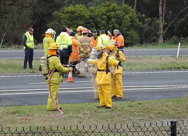 Melbourne, Australia – July 14, 2016: Clean-up of chemical spill on Calder Freeway.